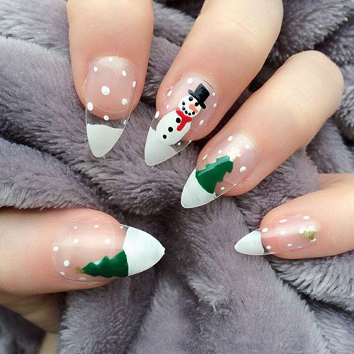 Snowman and Christmas Tree Nails