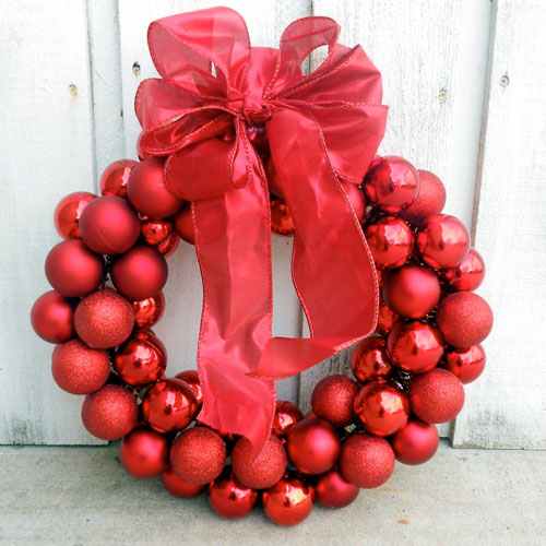 Christmas Ornament Wreath - Wire Hanger Wreath