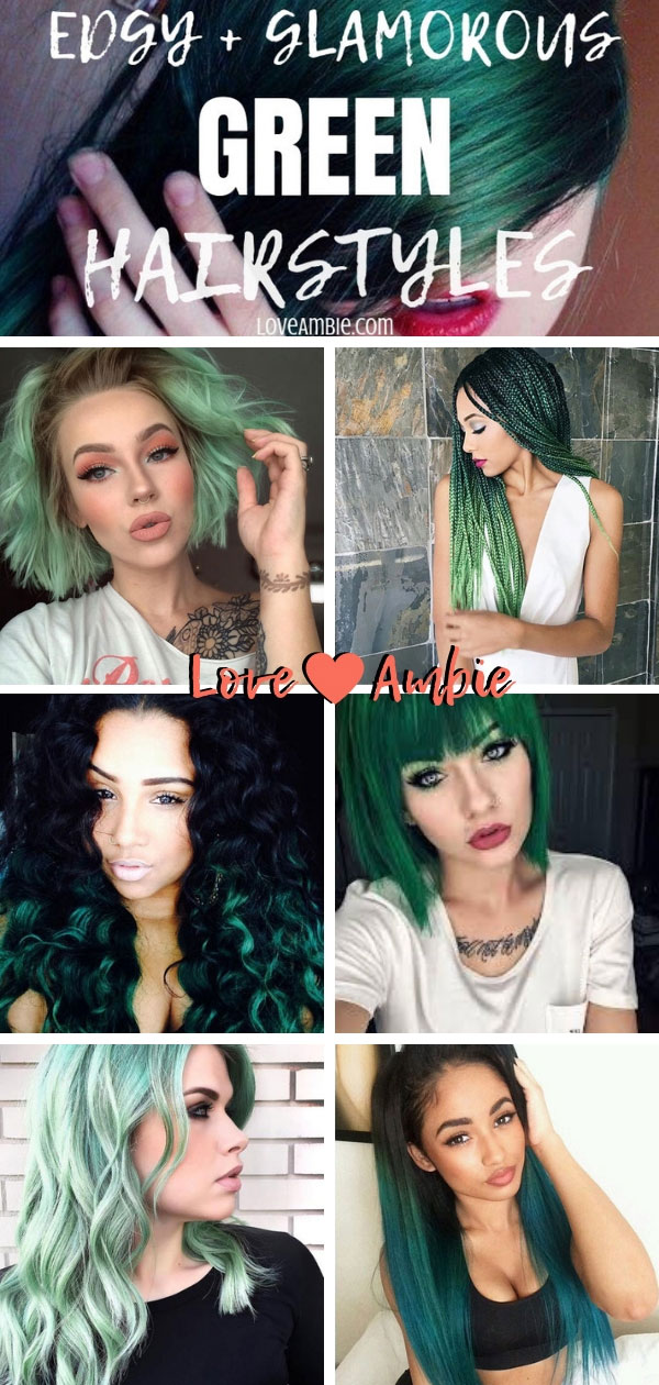 Edgy Glamorous Bold Green Hairstyles