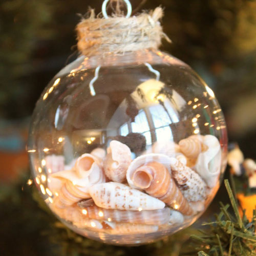 Sea Shell Ornament - DIY Glass Ball Ornament
