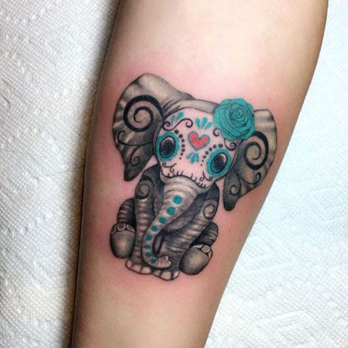 Adorable Elephant Tattoo Designs and Ideas - Dia De Los Muertos Tattoo Designs