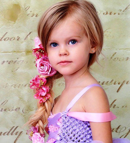 Braided Hairstyles For Little Girls - Braided Side Ponytail With Flowers