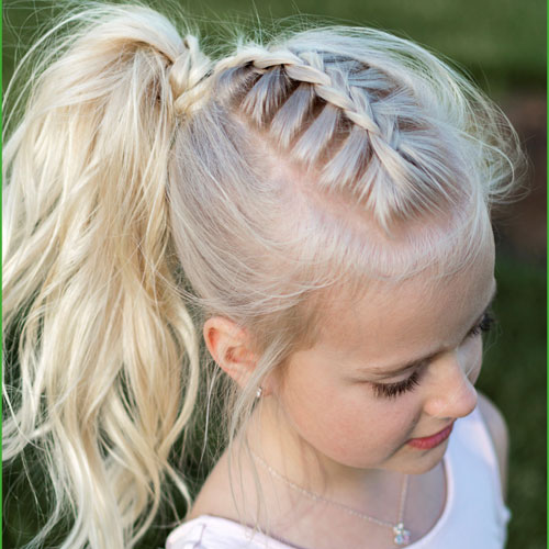 Braided Hairstyles For Little Girls - French Braid Ponytail