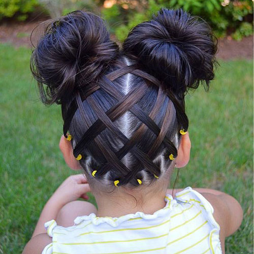 Criss Cross Double Buns - Little Girl Hairstyles