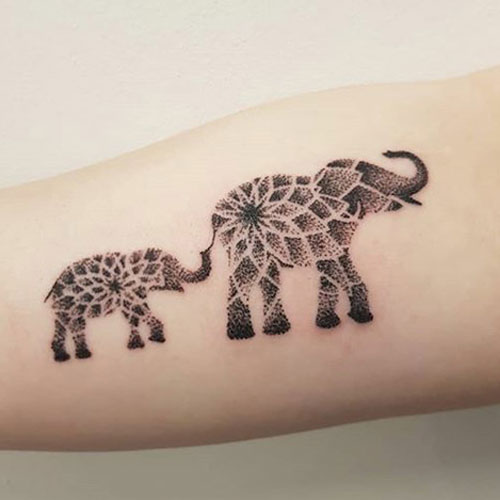 Cute Elephant Tattoos - Elephant Flower Tattoo - Mother and Baby Elephant