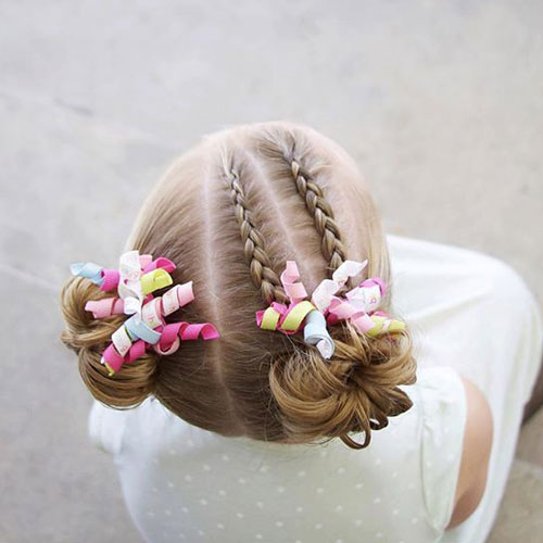 Cute Hairstyles - Braided Double Bun Hairstyle