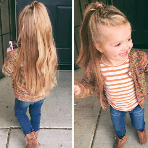 Cute Hairstyles For Little Girls - Half Up Braided Ponytail