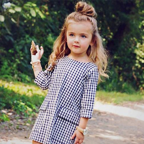 Cute Hairstyles For Little Girls - Half Updo Top Knot