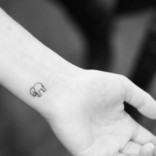 Cute Small Elephant Wrist Tattoo - Elephant Outline Tattoo