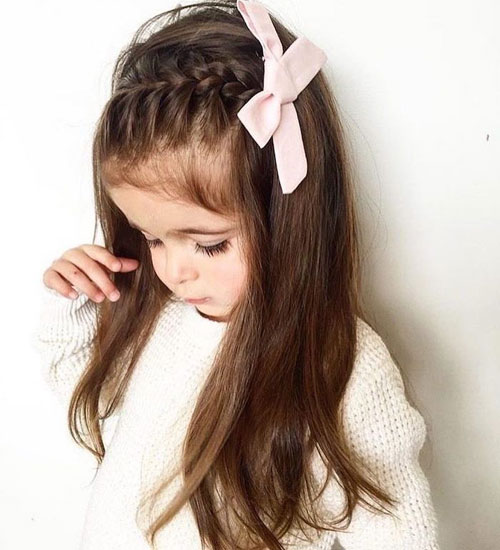 Easy Braid Hairstyles - Little Girl Hairstyles - Pink Bow