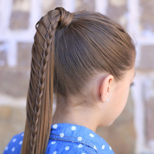 Easy Braided Little Girl Hairstyles - Ponytail with Braid