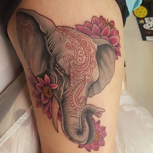 Elephant Tattoo with Lotus Flower - Elephant Thigh Tattoo
