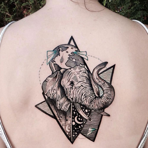 Large Elephant Back Tattoo - Elephant Tattoo Meaning