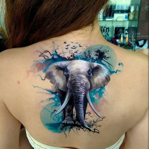 Large Realistic Elephant Back Tattoo