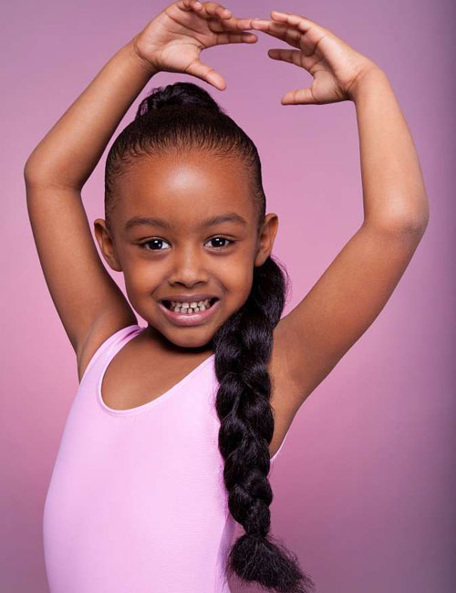 Little Black Girl's Hairstyles - Braided Ponytail