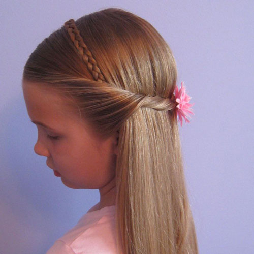 Little Girl Hairstyles - Braided Headband and Twist Half Updo