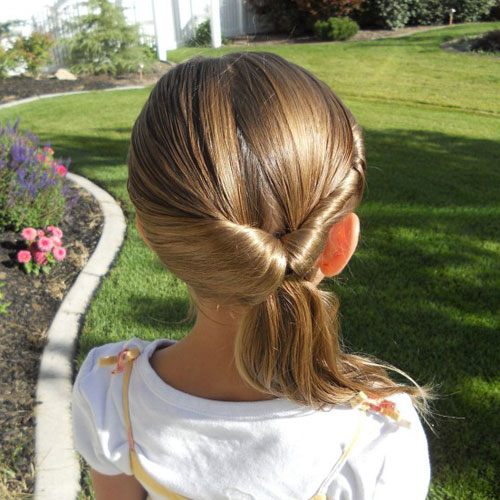 Little Girl Hairstyles - Inside Out Ponytail