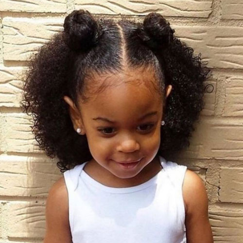 Little Girl Hairstyles -Little Black Girl's Hairstyles - Half Updo Double Bun