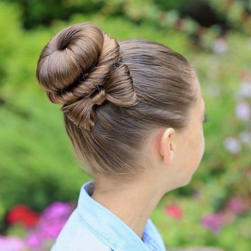 Little Girl Hairstyles - Wrapped Bun with Bow