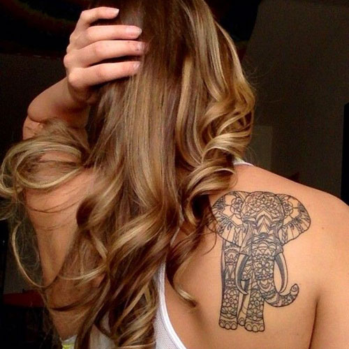 Mandala Elephant Back Shoulder Tattoo