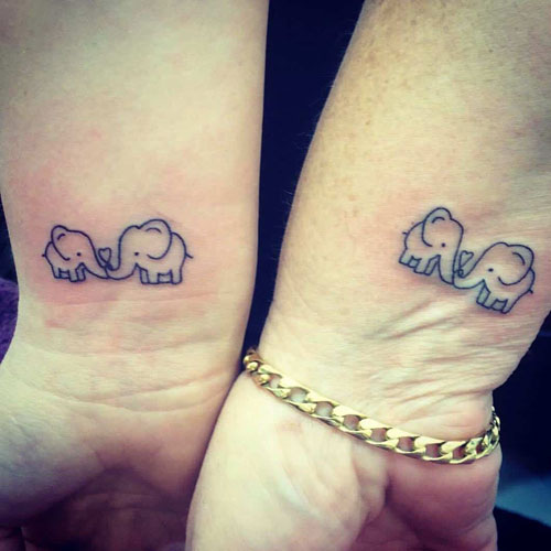 Mother Daughter Elephant Tattoo - Elephant Outline Tattoo