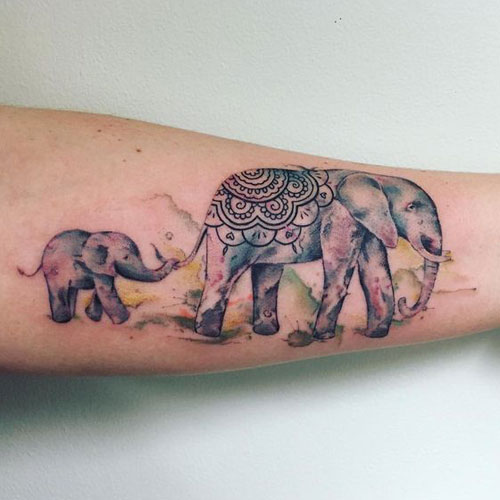 Mother and Baby Elephant Tattoo - Watercolor Elephant Tattoo