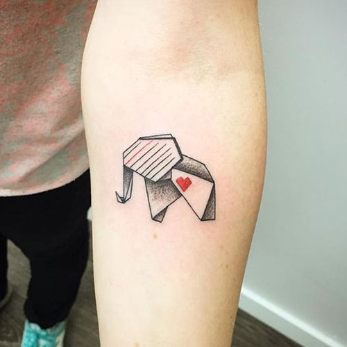 Origami Elephant Tattoo Design with Heart
