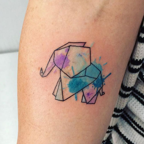 Origami Watercolor Elephant Tattoo - Elephant Tattoo Designs
