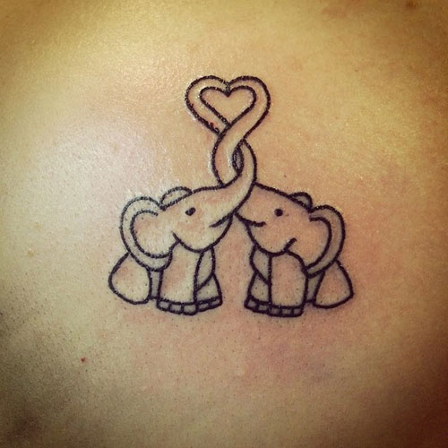 Outlined Two Elephants Tattoo - Baby Elephant Tattoo Designs