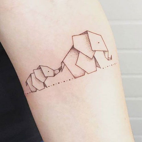 Paper Origami Mother and Baby Elephant - Forearm Tattoo Idea