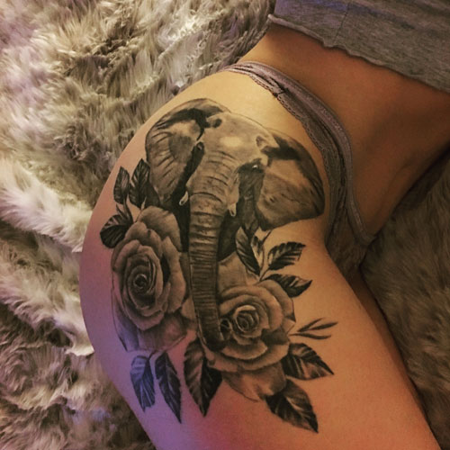 Rose and Elephant Tattoo - Sexy Thigh Tattoos
