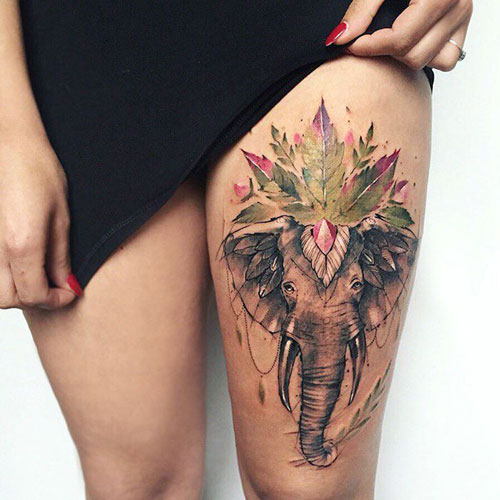 Sexy Elephant Thigh Tattoo Design