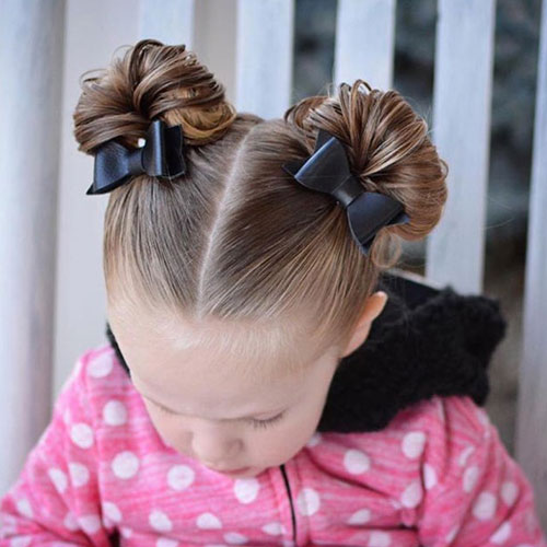 Short Hairstyles For Little Girls - Double Bun with Bow