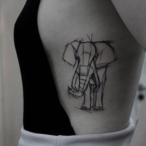 Sketched Outline Elephant Tattoo - Rib Cage Tattoo