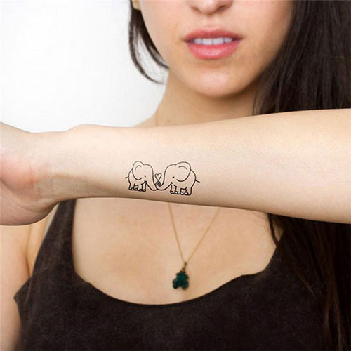 Small Elephant Outline Tattoo - Friendship Tattoo