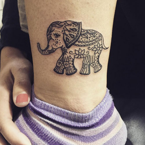 Small Elephant Tattoo - Mandala Elephant Tattoo