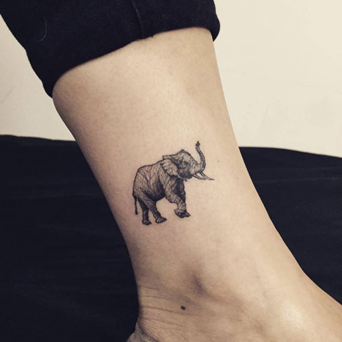 Small Realistic Elephant Tattoo - Ankle Tattoo Ideas