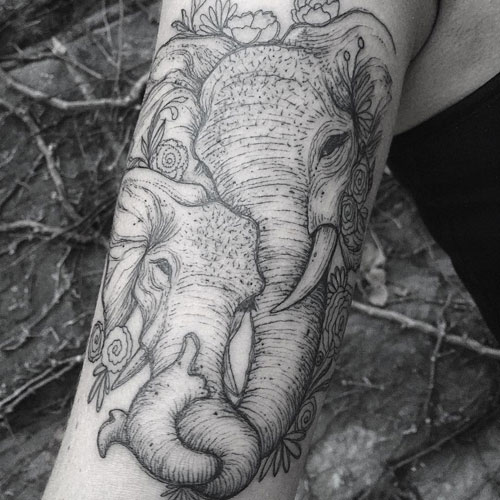 Stunning Mother and Baby Elephant Tattoo - Realistic Elephant Tattoo Design