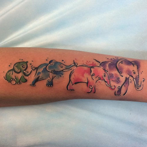Watercolor Elephant Family Tattoo Design