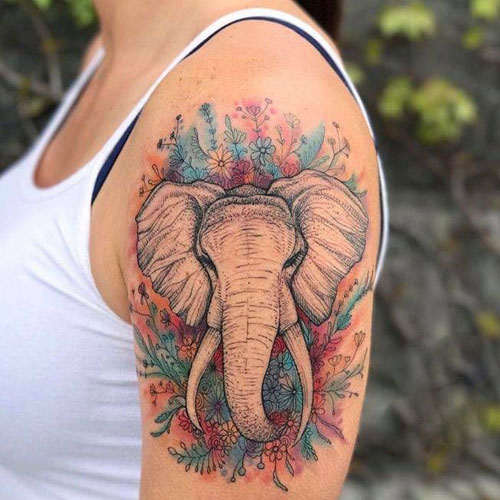 Watercolor Elephant Tattoo - Single Elephant Tattoo with Flowers
