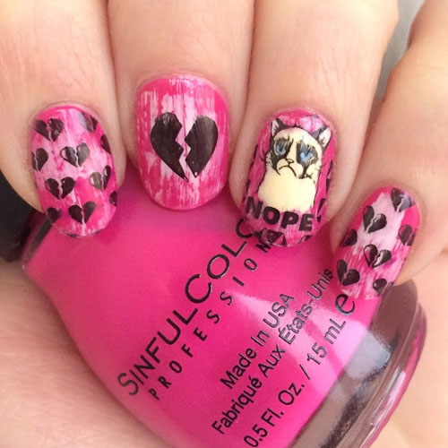 Adorable Sad Cat Anti Valentines Day Nail Designs