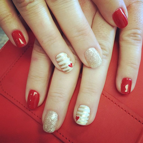Adorable Small Heart Nail Design - Valentines Nails