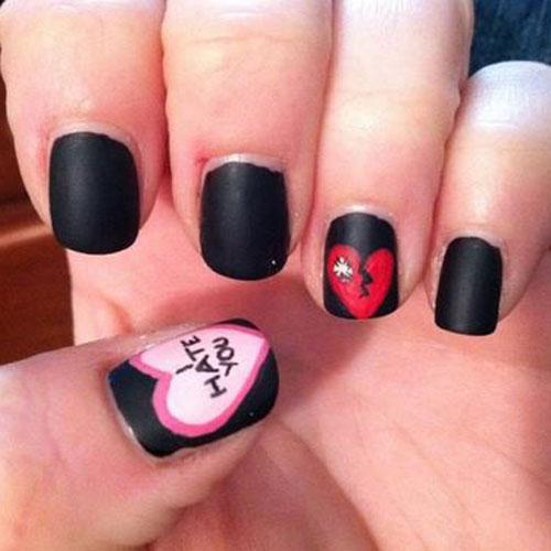 Black Anti Valentines Day Nail Designs