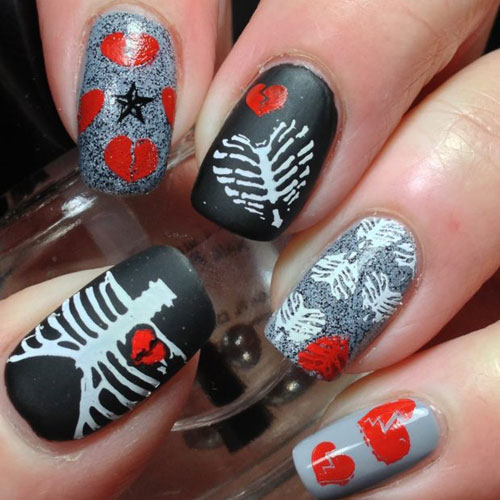 Broken Heart Anti Valentines Day Nail Designs