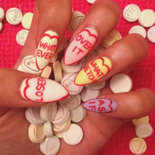 Candy Heart Nail Designs - Anti Valentines Day Nail Designs