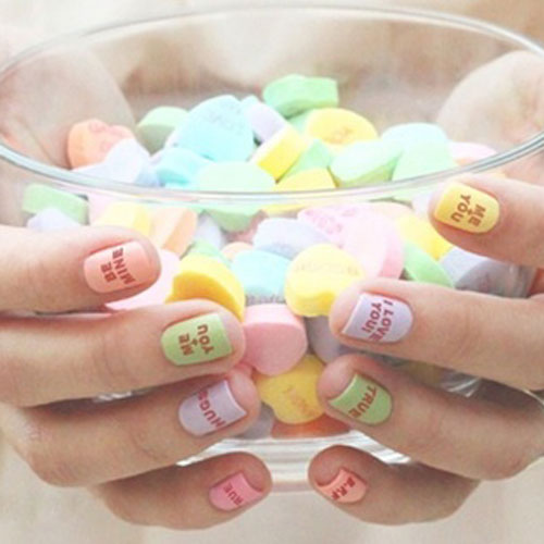 Candy Heart Nail Designs - Valentine Nail Art