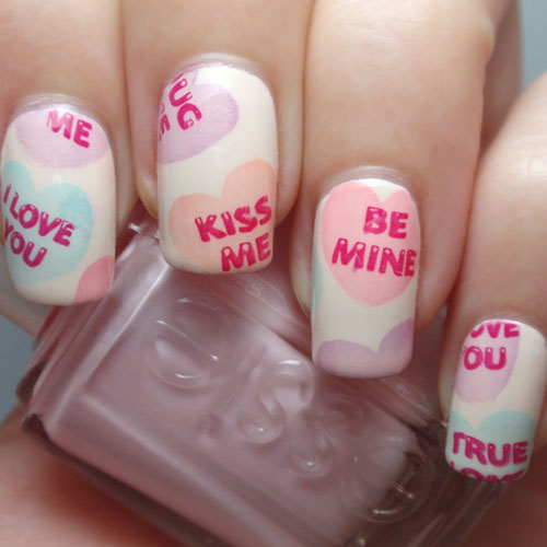 Candy Heart Valentines Day Nails