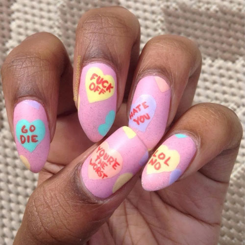 Candy hearts Valentine's Day nails