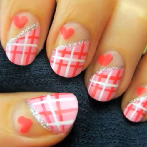 Checkerboard Valentines Nails