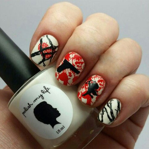 Cupid Nail Art - Anti Valentines Day Nail Designs